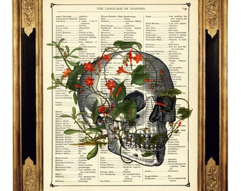 Flowers Human Skull II Gothic Poster - Vintage Victorian Book Page Art Print Steampunk Dictionary Halloween