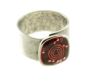 Orgone Energy Ring with Garnet - Small Cocktail Ring - Adjustable Ring - Orgone Energy Jewelry - Artisan Jewelry