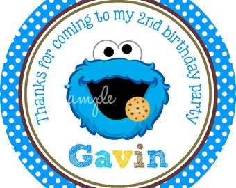 Cookie Monster Stickers, Personalized Stickers or Gift Tags, Cookie Monster Birthday Party - Set of 12