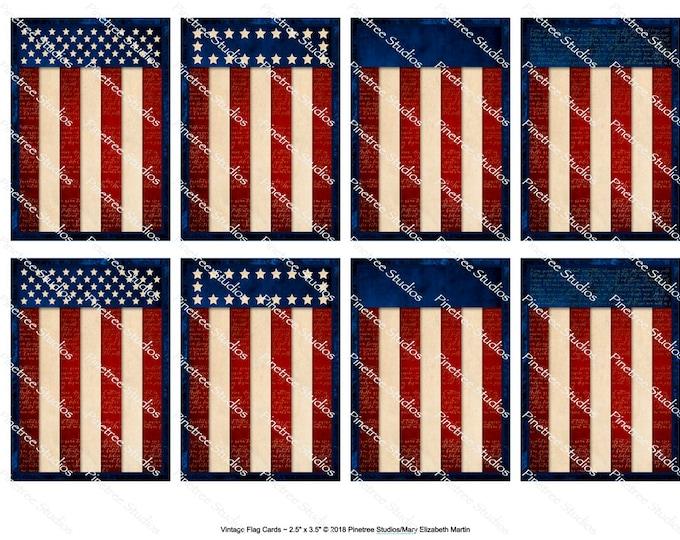 "Vintage Flag Cards (2.5""x 3.5"") ~ Digital Download ~ Printable / Label / Gift Tag / Bookplates / Bookmarks / ATC Cards / Patriotic"