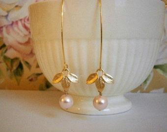 Blush Dangle Drop Earrings, Pale Pink Earrings, Gold Earrings, Long Dangle Drop Earrings, Pearl Earrings, Wife Gift, Mom, Sister, Girlfriend