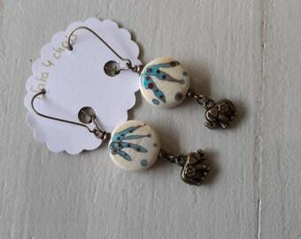 Lampwork glass Lampwork, beige beads earrings