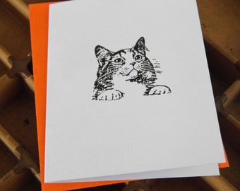 Small letterpress blank note card - cat - thankyou notecard