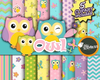 "Spring Owl Clipart + Digital Paper : ""Owl Digital Paper"" - Cute Summer Owls Clipart, Scrapbook Paper, Commercial Use, Instant Download"