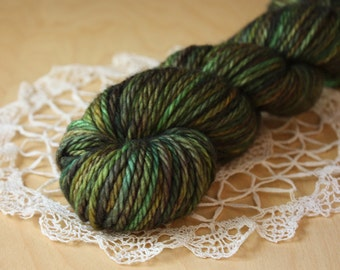 Hand Dyed Yarn / Deep Celtic Forest Pine Green / Bulky Weight Superwash Merino Wool Chunky / Boudicca