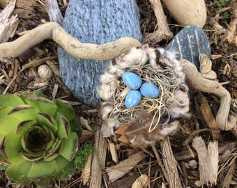 Hand-Knit Bird Nest on Twisted Beach Driftwood