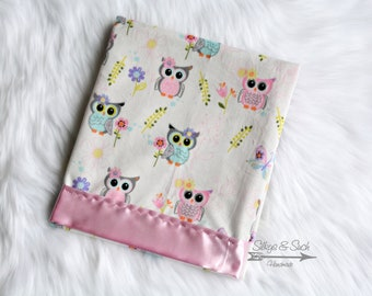 Silky Baby Blanket ~ Bright Eyed Owls, Silky Baby Blanket, Minky and Satin Blanket, Satin Blanket, Satin Baby Blanket, Silky Blanket