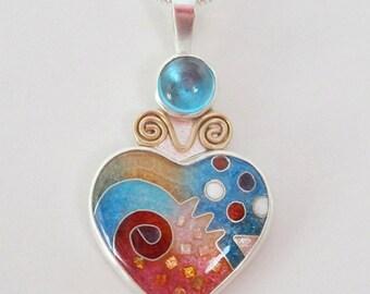 Cloisonne Heart Pendant ~ Medium Blue Heart Pendant ~ Enamel Heart ~ Blue Topaz ~ Made to Order