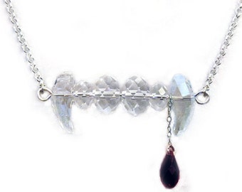 Vampire Fang Necklace with Swarovski Crystal