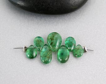 Natural Emerald Beads - 7 Briolettes - Emerald Beads - Pears