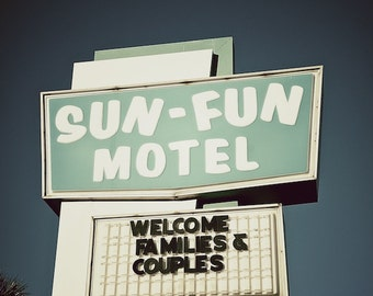 Sun - Fun Motel Sign, Bedroom Wall Art, Beach Wall Art