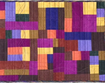 Color Play V Abstract Fiber Art Quilted Wall Hanging