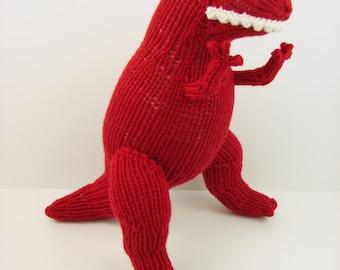 Hand Knit T-Rex: Red