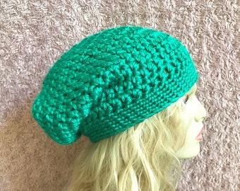 Green Slouchy Crochet Hat