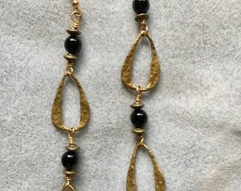 Open Brass Teardrop Earrings