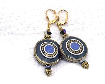 Lapis cabochon - Casamance Collection earrings