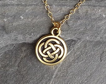 Tiny Celtic Knot Necklace / Small gold Celtic Knot Necklace / Gold plated Celtic Knot / Gold filled chain / Irish necklace / Layering