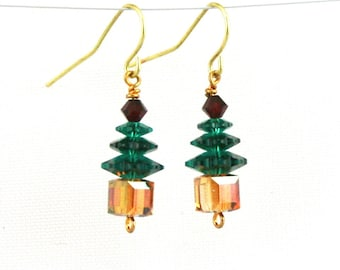 Crystal Tree Earrings in Red Green Gold