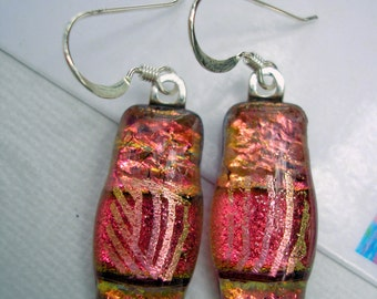 Pink Peach Earrings, Dichroic Fused Glass, Kiln Fired, Sterling Silver French Hooks, Made in U.S.A., Fused Glass Jewelry, Dangle Drop