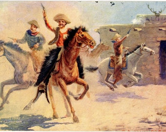 Shooting Up the Town – Western Cowboy Vintage Postcard SIGNED George C Mather 1907