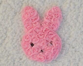 """3"""" Shabby Chiffon Flower Bunny, Shabby Bunny, Easter Headband, Baby Girl Headband, Pink, 1, 2 or 5"""