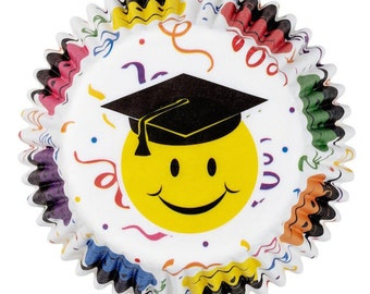 Smiley Graduation Standard Cupcake Liners Baking Cups Muffin Cups - Wilton Cupcake Liners - School Graduation Cupcake Liners
