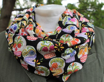 Infinity Scarf. Scarf. Sugar skull scarf. Day of the dead scarf. Folklorico scarf. Circle scarf. Loop scarf. Birthday gift. Gift.