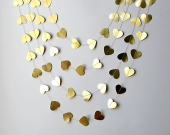 Wedding party garland, Heart garland, Gold wedding garland, Metallic garland,Gold garland, Wedding decor, Bridal shower decor