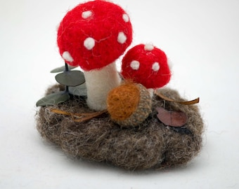 Wool Mushrooms Fall Decoration Needle Felted Small Understory With Mushrooms