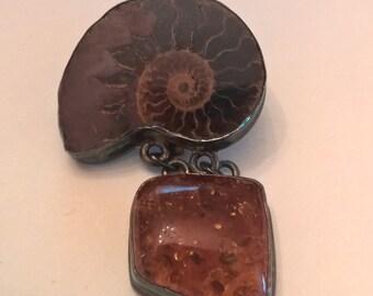 Great Pendant Ammonite  Amber Sterling