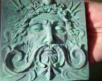 Sea god tile, 4x4 inch square Verdigris over Copper, Man's face with swirls and trident. grand old theater decor, Sculpted by Chalifour