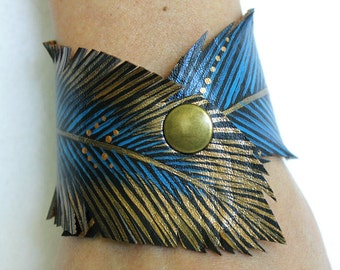Feather Cut Cuff, Teal Gold Feather Bracelet Faux Leather Hand Painted, Vegan Jewelry, Gifts for Her