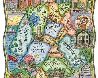 "Jamaica Plain Boston Neighborhood Map Art Print 8"" x 10"""
