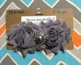 1-6 Year Old Sized Gray Shabby Flower Headband w/ Jewel Center (15 inches)