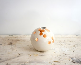 MADE TO ORDER - white and copper ball vase