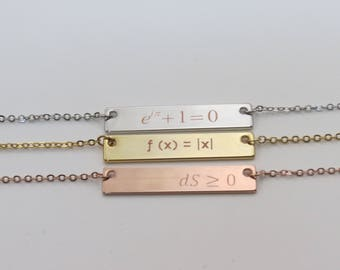 Bar Necklace Rose Gold Gift for Her Personalized Necklace Graduation Gift Best Friend Gift Math Equation Physics Equation Personalized Gift
