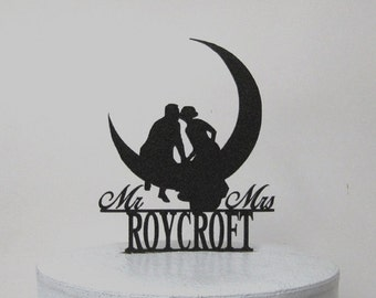 Personalized Wedding Cake Topper - Kissing on the Moon with Mr & Mrs last name