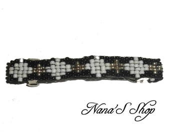 hair clip, woven, black and white beaded