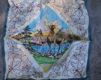 Vintage 1950s to 1960s Souvenir Toronto Canada Satin Pillow Cover Pair of Deer Doe and Buck Purchased at Sole's Store Canadian