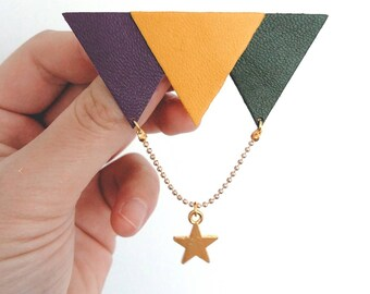 Broche Triangles en cuir et métal doré - Agathe et Ana