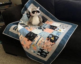Woodland Baby Quilt, Baby Boy Quilt, Handmade Baby Quilt, Patchwork Quilt, Baby Blanket, Baby Shower Gift
