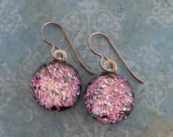 Pink Niobium Earring for Very Sensitive Ears, Dangle Earrings, Pink Dichroic Earrings, Fused Glass Jewelry, Hypoallergenic - Amelia-6
