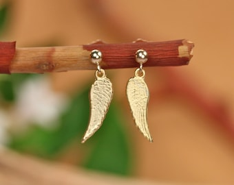 Gold wing earrings, tiny wing earrings, gold fairy wings, guradian angel earrings, cupid wings - gift under 20