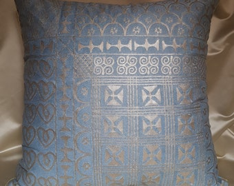 """22"""" x 22"""" Fortuny Throw Pillow Cushion Cover  Slate Blue & Silvery Gold Ashanti Pattern 01 - Made in Italy"""