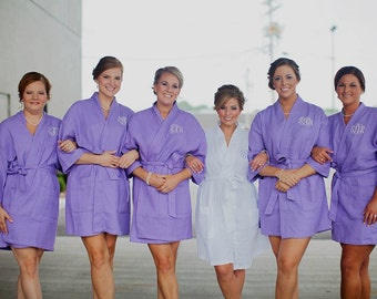 WEDDING PHOTO ROBES - Lavender Cotton Waffle Robes - Bridesmaid Robes - Bride Robe - Bachelorette Robes - Cotton Robe - Personalized Robe