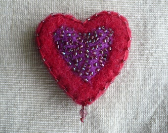Red Heart Pin Wool & Glass Beads