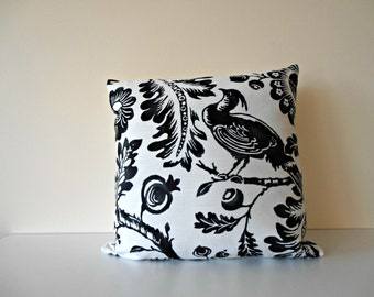 black and white pillow cover - birds and flowers pillow -  black and white cushion - black white floral pillow - black white floral cushion