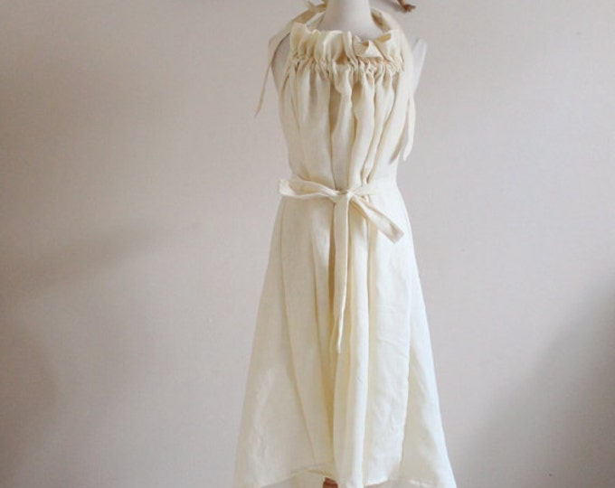 Alternative eco wedding linen ruffle dress made to measure listing / casual wedding dress / beach wedding dress / linen sundress / halter