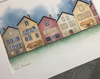 Little Houses- matted painting. (Original)