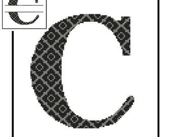 Monogram C Cross Stitch Pattern C Initial C Letter cross stitch Wedding Gift House Warming split letter cross Wedding Record Anniversary